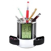 Pen Stand Pen Holder With Digital Clock Temperature Calendar And Musical Alarm