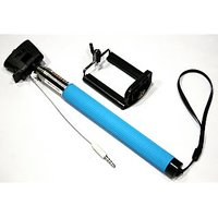 Ultimate Selfie Stick With In-built Aux Cable (Blue)