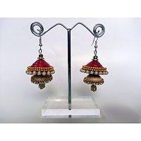 Stylish Twin Jumkha Earrings Red-Ivory