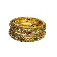 Joyas Red And Green Stones Studded Bangle Set_1B12600190_2.4
