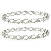 Pair Of Silver Trendy Bangle Set By Sparkling Jewellery