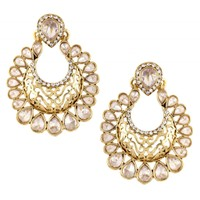 The Jewelbox Antique Traditional Gold Ethnic Kundan Polki Chand Bali Earring