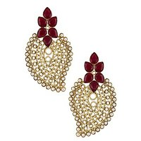 The Jewelbox Antique Traditional Ruby Red Pearl Gold Filigree Large Earring
