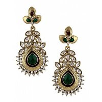 The Jewelbox Maroon Green Meenakari American Diamond Pearl Gold Plated Earring