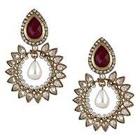 The Jewelbox Gold Plated Ruby Pearl American Diamond Bali Earring