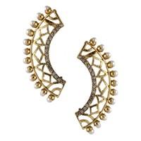 The Jewelbox Gold Plated American Diamond Pearl Filigree Ear Cuff Earring Pair