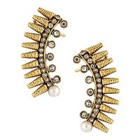 The Jewelbox Gold Plated American Diamond Pearl Antique Ear Cuff Earring Pair