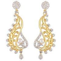 The Jewelbox American Diamond Pearl Gold Plated Filigree Dangling Earriing