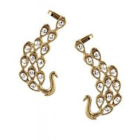 The Jewelbox American Diamond Antique Gold Plated Peacock Ear Cuff Pair Earring