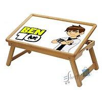 White Ben 10 Multipurpose Foldable Wooden Study Table For Kids WDTB3