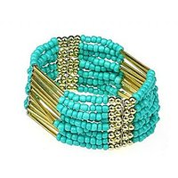 GirlZ!Fashion Bosnian Measle Tassel Ethnic Style Beads Bracelet - Green