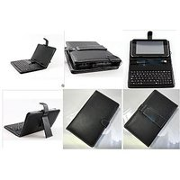 """Universal 7"""" Inch USB Keyboard Leather Black Case Cover For Tablet MID EPAD HCL Samsung Micromax Karbonn Tabs"""