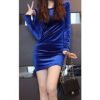 Round Neck Velvet Long Sleeve Dress Stretch Blue