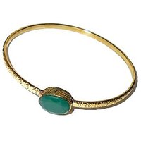 2015 Hot Collection Simple Bangle With Green Onxy Gemstone ABNY983D