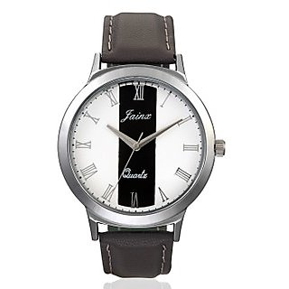 Jainx Mens Grey Genuine Leather Analouge Watch