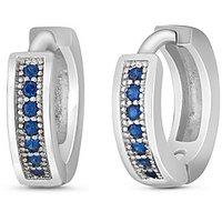 Mahi Rhodium Plated Small Single Line Blue CZ Stone Huggies Hoops Earrings For Women ER1109311R