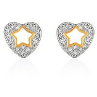 Mahi Gold Plated Twinkling Star Heart Stud Earrings With CZ For Women ER1109327G