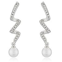 Mahi Rhodium Plated Spiral Shimmer Earrings With Crystal & Pearl For Women ER1191761RWhi