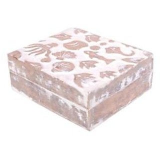 Onlineshoppee Wooden Antique Rusted Look Jewellery Box With Hand Carving Design - 73646370