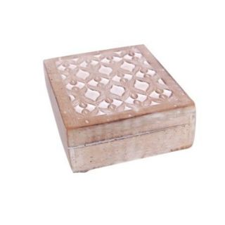 Onlineshoppee Wooden Antique Rusted Look Jewellery Box With Hand Carving Design - 73650272