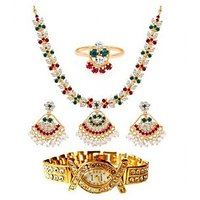 Gold Plated Ad Necklace Set With Watch