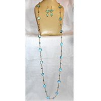60inch Long Design Brass Necklace With Blue Hydro Quartz Gemstone.ABSNY997B
