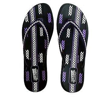 STEEL Women's PU Slipper Black-Purple (PL-084)