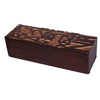 Onlineshoppee Wooden Antique Brown Jewellery Box With Handicraft Design - 73703000