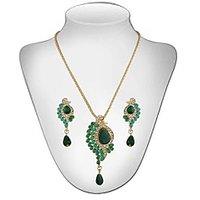 Panini Contemporary Green Chain Pendant Set For Women_2795