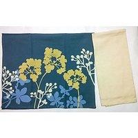 Barkat Blue & Gold Herb Print Set Of 2 Kitchen Towels, 1 Pc Printed & 1 Pc Plain