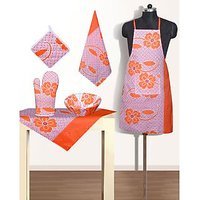 Buy Kitchen LInen (Set Of 6 Pcs) Orange Colour