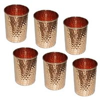 AsiaCraft Pure Copper Hammered Handmade Glass Tumbler, Set Of 6