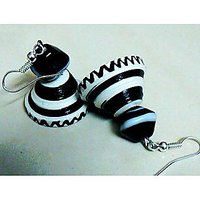 Beautiful Black And White Paper Earring With Ceramic Bead