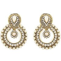 Antique White Beaded Hanging Earrings With Free Gold Plated Earrings By Goldnera - 73793380