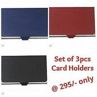 Set Of 3pcs CARD HOLDER - Slim Metal Credit / Debit Card Case : CC-01N
