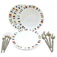 Corelle-Memphis Dinner Plates-Set Of 4 Fork/Spoon/Plates
