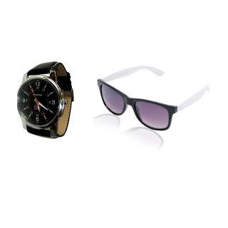 Combo Of Reebok Black Dial Men's Casual Watch With White Wayfarer Sunglasses