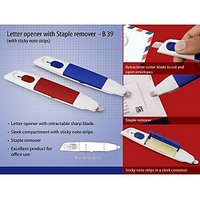 B39 - Letter Opener With Staple Remover And Sticky Note Strips