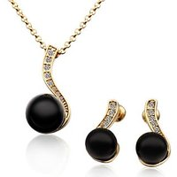 Black Stone Artificial Necklace With Earrings