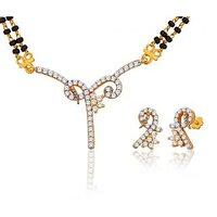 Peora 18 Karat Gold Plated Mangalsutra Earrings Set Pm(Design 2)