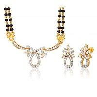 Peora 18 Karat Gold Plated Mangalsutra Earrings Set Pm(Design 6)