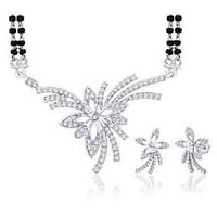Peora Rhodium Plated Mangalsutra Set With Swiss Cubic Zirconia (Design 9)