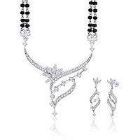 Peora Rhodium Plated Mangalsutra Earrings Set Pm(Design 2)