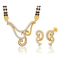 Peora 18 Karat Gold Plated Mangalsutra Earrings Set