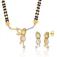 Peora 18 Karat Gold Plated Mangalsutra Earrings Set (Design 14)