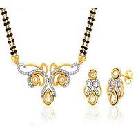Peora 18 Karat Gold Plated Mangalsutra Earrings Set (Design 10)