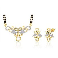 Peora 18 Karat Gold And Rhodium Plated Mangalsutra Set (Design 6)