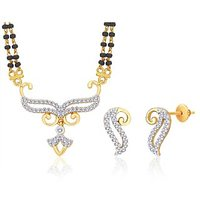 Peora 18 Karat Gold And Rhodium Plated Mangalsutra Set (Design 3)