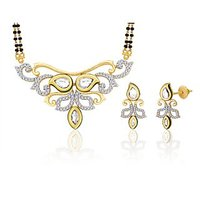 Peora 18 Karat Gold And Rhodium Plated Mangalsutra Set (Design 4)
