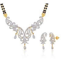 Peora 18 Karat Gold And Rhodium Plated Mangalsutra Set With Swiss Cubic Zirconia (Design 10)
